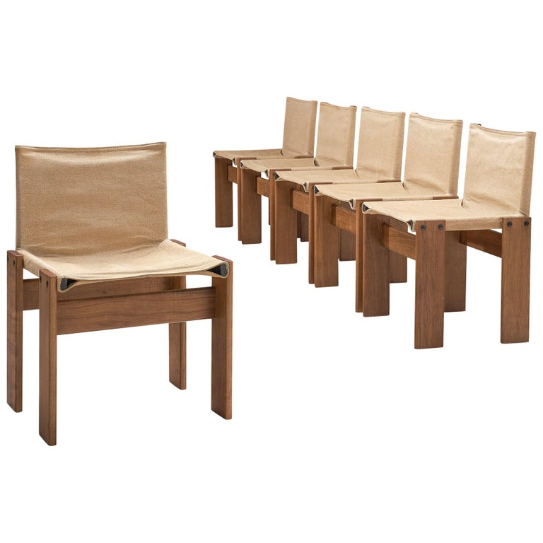 Afra & Tobia Scarpa for Molteni Six Monk Chairs in Naturel Canvas For Sale