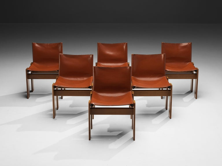 Tobia & Afra Scarpa for Molteni Six 'Monk' Chairs in Red Leather For Sale 3
