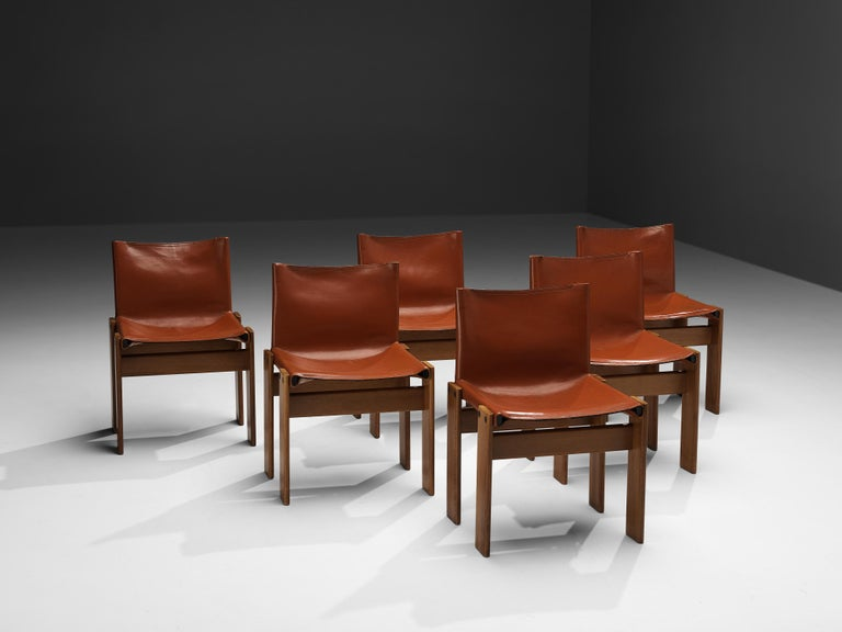 Tobia & Afra Scarpa for Molteni Six 'Monk' Chairs in Red Leather For Sale 4