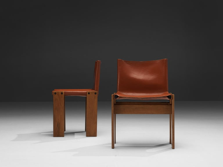 Tobia & Afra Scarpa for Molteni Six 'Monk' Chairs in Red Leather For Sale 5