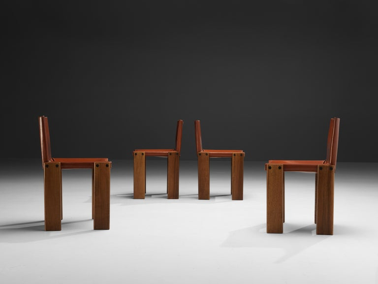 Tobia & Afra Scarpa for Molteni Six 'Monk' Chairs in Red Leather For Sale 6