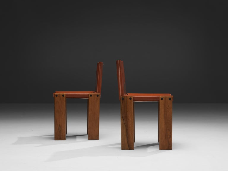 Tobia & Afra Scarpa for Molteni Six 'Monk' Chairs in Red Leather For Sale 7