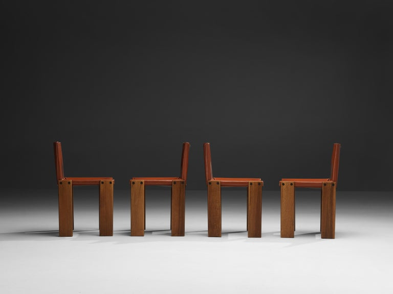 Tobia & Afra Scarpa for Molteni Six 'Monk' Chairs in Red Leather For Sale 8