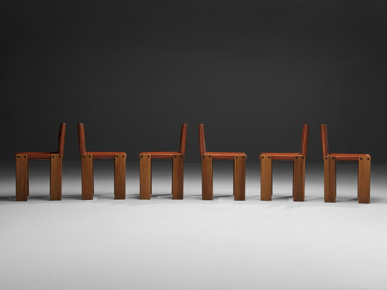 Tobia & Afra Scarpa for Molteni Six 'Monk' Chairs in Red Leather For Sale 9