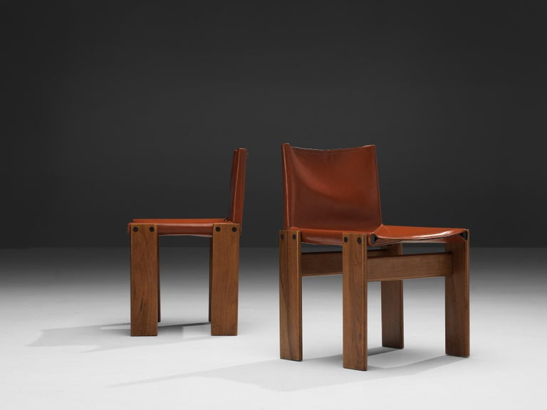 Tobia & Afra Scarpa for Molteni Six 'Monk' Chairs in Red Leather For Sale 10