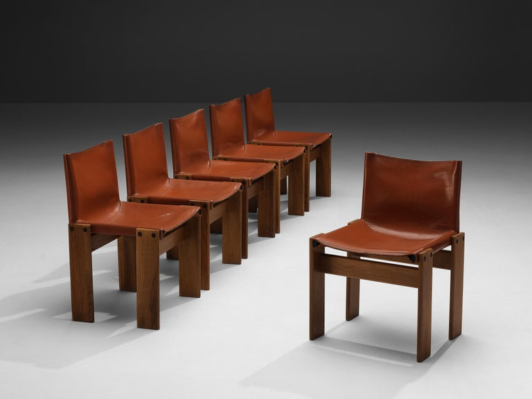 Italian Tobia & Afra Scarpa for Molteni Six 'Monk' Chairs in Red Leather For Sale