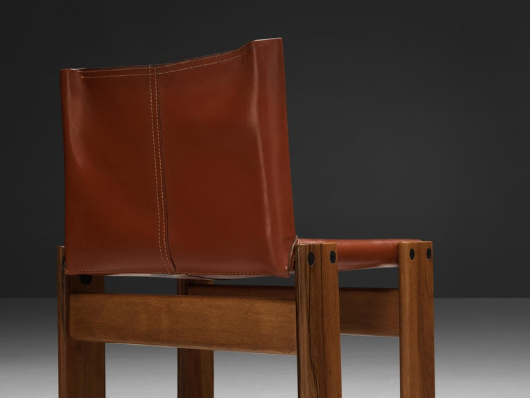 Tobia & Afra Scarpa for Molteni Six 'Monk' Chairs in Red Leather In Good Condition For Sale In Waalwijk, NL