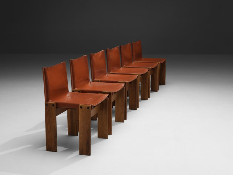 Late 20th Century Tobia & Afra Scarpa for Molteni Six 'Monk' Chairs in Red Leather For Sale