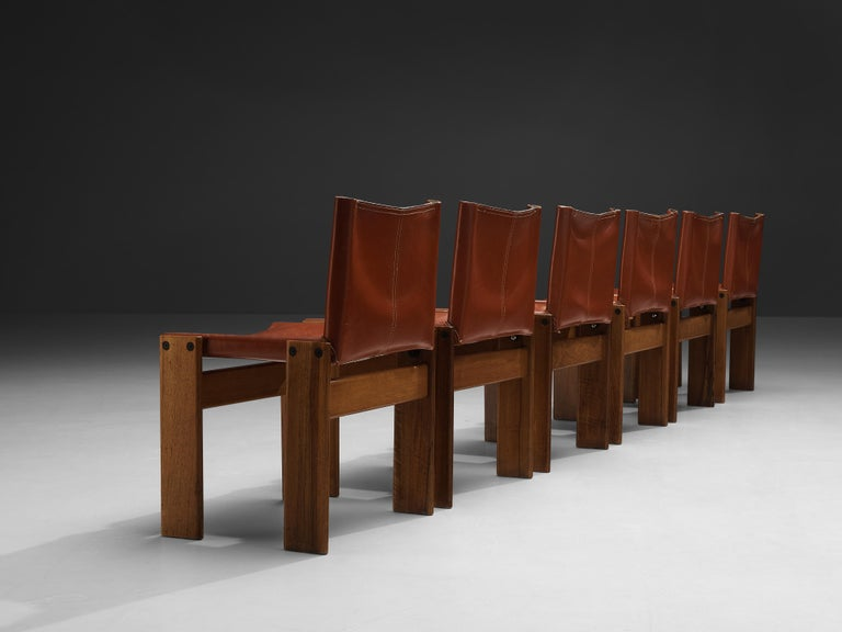 Tobia & Afra Scarpa for Molteni Six 'Monk' Chairs in Red Leather For Sale 1