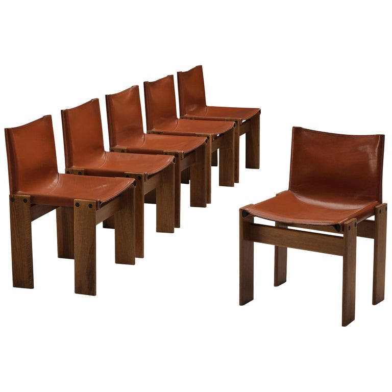 Tobia & Afra Scarpa for Molteni Six 'Monk' Chairs in Red Leather For Sale