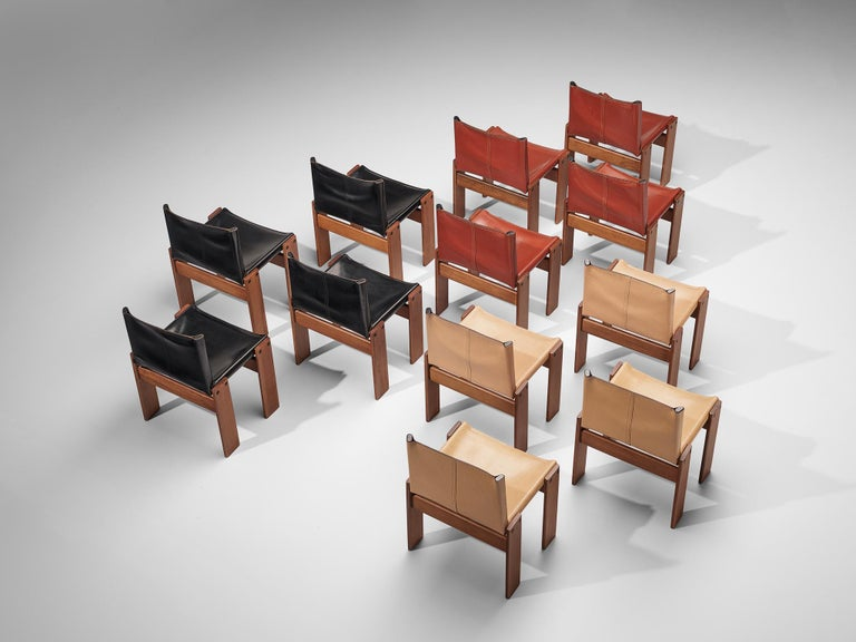 Tobia & Afra Scarpa for Molteni Twelve 'Monk' Chairs For Sale 4