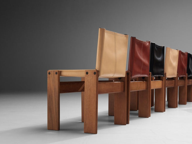 Mid-Century Modern Tobia & Afra Scarpa for Molteni Twelve 'Monk' Chairs For Sale