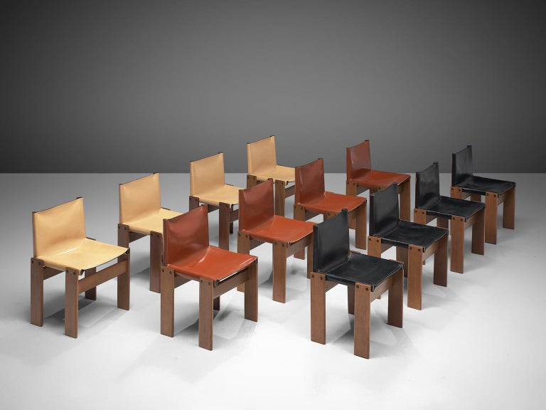 Italian Tobia & Afra Scarpa for Molteni Twelve 'Monk' Chairs For Sale