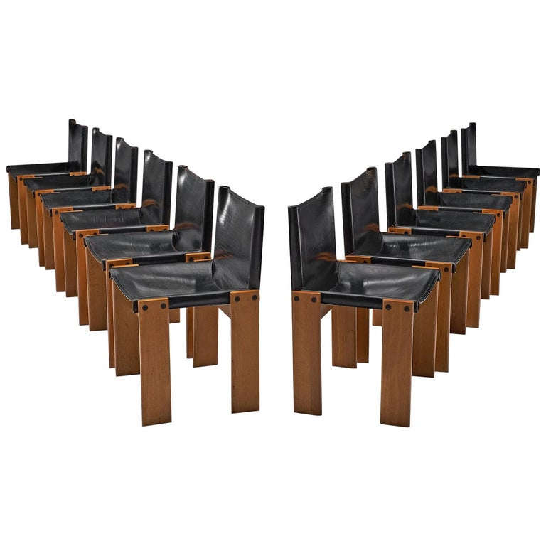 Tobia & Afra Scarpa for Molteni Twelve 'Monk' Chairs For Sale