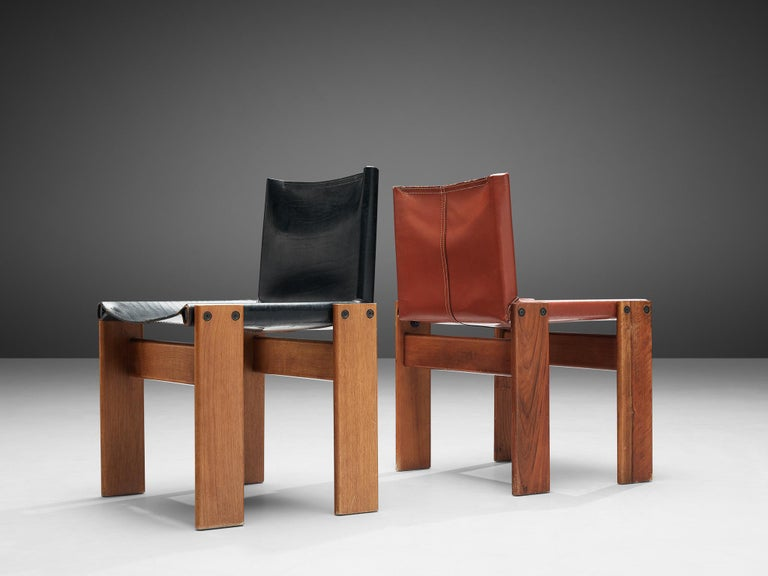 Tobia & Afra Scarpa for Molteni Twelve 'Monk' Chairs in Black and Red Leather For Sale 4