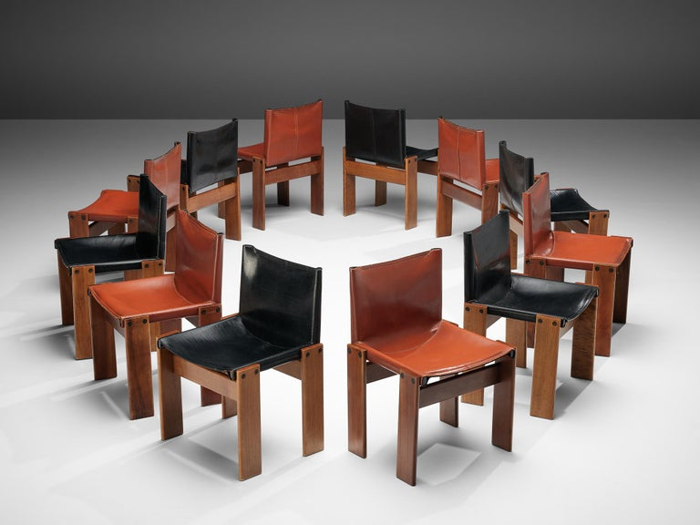 Tobia & Afra Scarpa for Molteni Twelve 'Monk' Chairs in Black and Red Leather For Sale 5