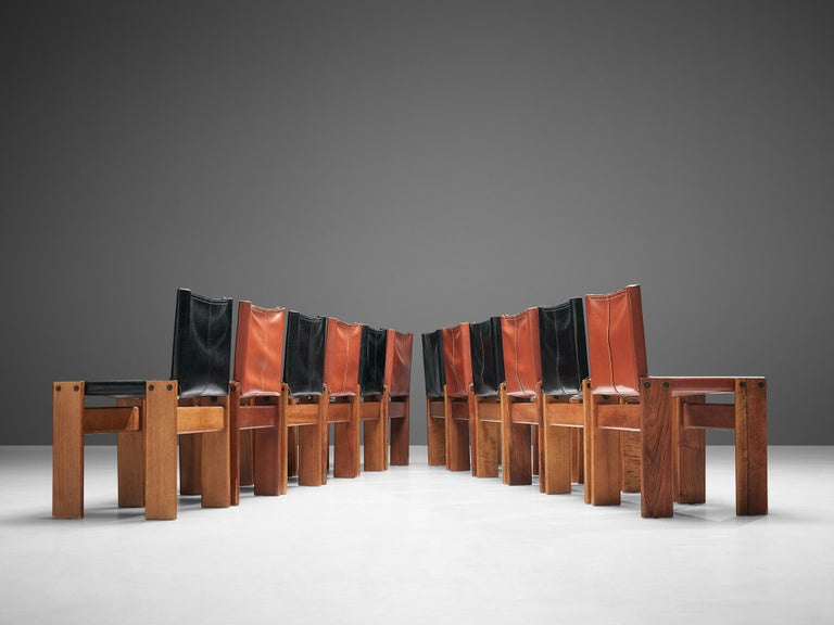 Tobia & Afra Scarpa for Molteni Twelve 'Monk' Chairs in Black and Red Leather For Sale 6