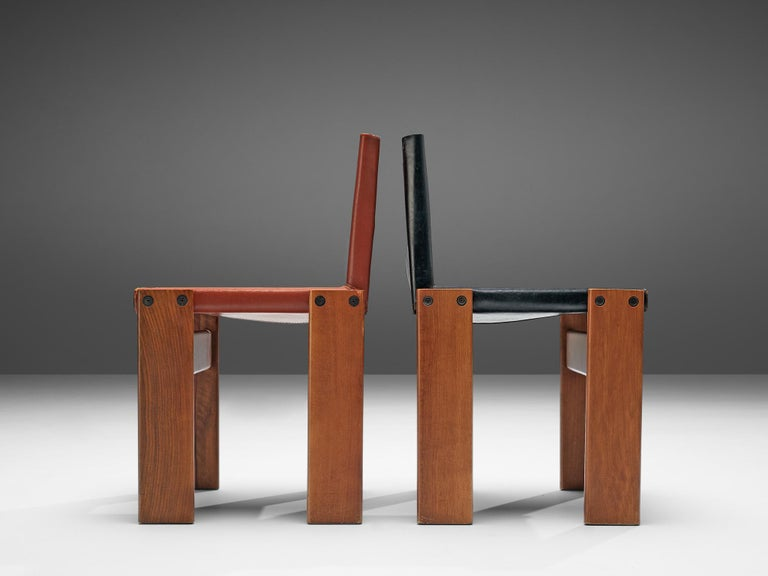 Tobia & Afra Scarpa for Molteni Twelve 'Monk' Chairs in Black and Red Leather For Sale 7