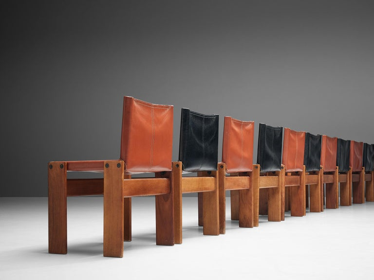 Tobia & Afra Scarpa for Molteni Twelve 'Monk' Chairs in Black and Red Leather For Sale 8