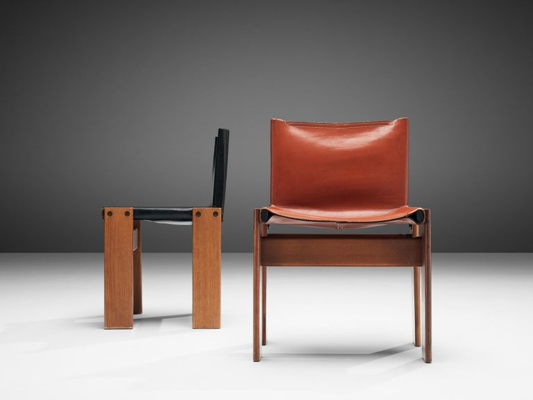 Tobia & Afra Scarpa for Molteni Twelve 'Monk' Chairs in Black and Red Leather For Sale 9