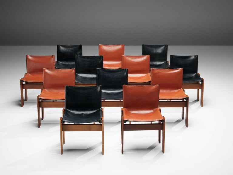 Mid-Century Modern Tobia & Afra Scarpa for Molteni Twelve 'Monk' Chairs in Black and Red Leather For Sale