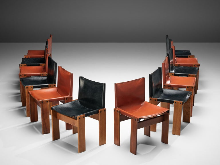 Italian Tobia & Afra Scarpa for Molteni Twelve 'Monk' Chairs in Black and Red Leather For Sale