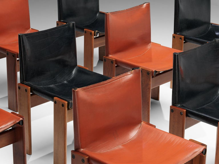 Tobia & Afra Scarpa for Molteni Twelve 'Monk' Chairs in Black and Red Leather In Good Condition For Sale In Waalwijk, NL
