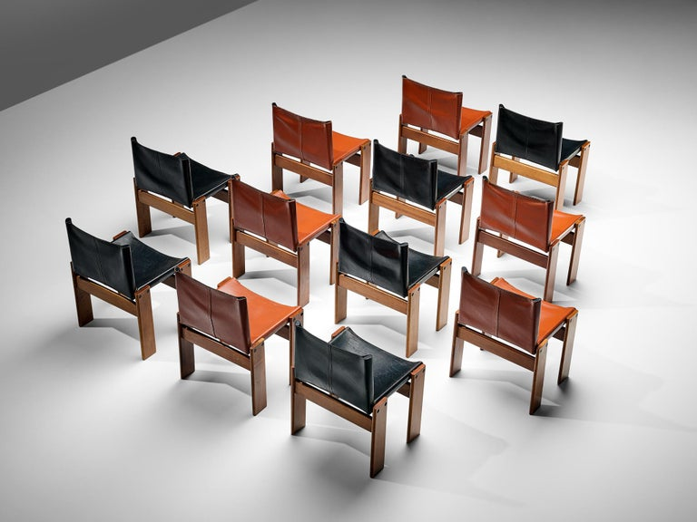 Tobia & Afra Scarpa for Molteni Twelve 'Monk' Chairs in Black and Red Leather For Sale 2