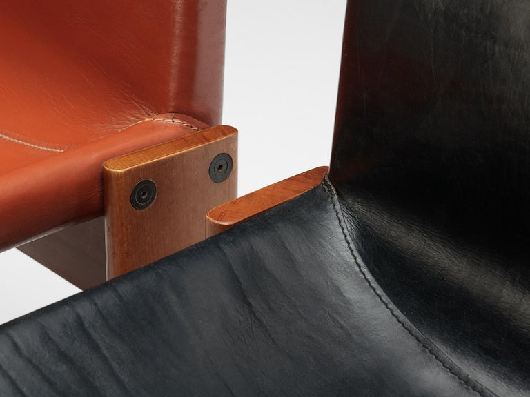 Tobia & Afra Scarpa for Molteni Twelve 'Monk' Chairs in Black and Red Leather For Sale 3