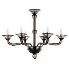 Contemporary Chandelier, 6 arms Dark Grey Murano Glass by Multiforme