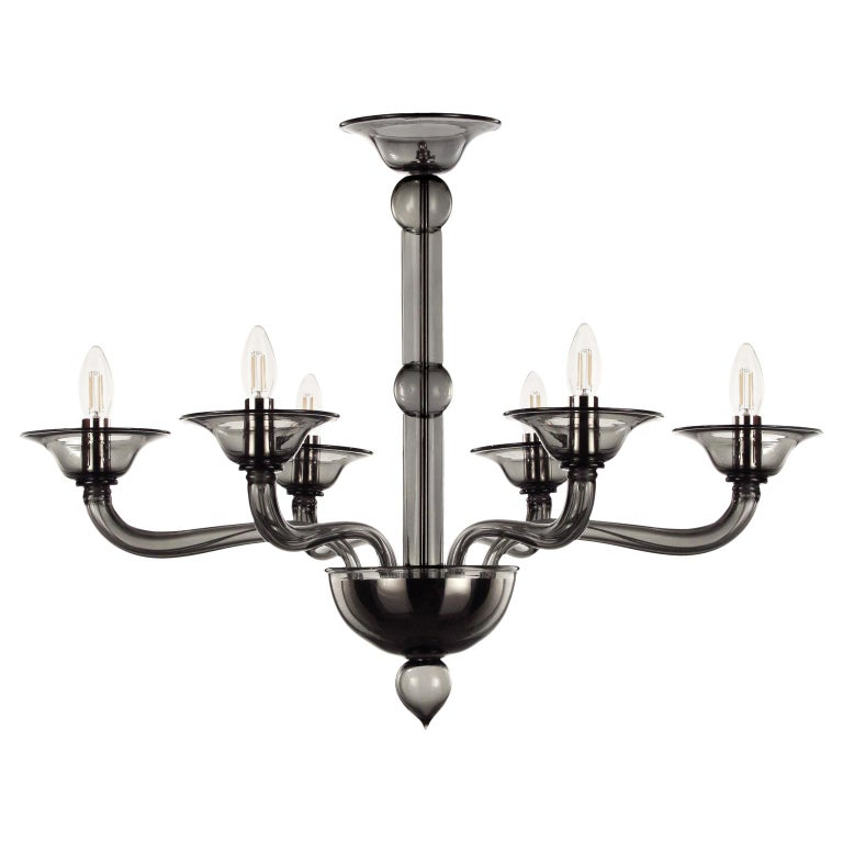 Contemporary Chandelier, 6 arms Dark Grey Murano Glass by Multiforme For Sale