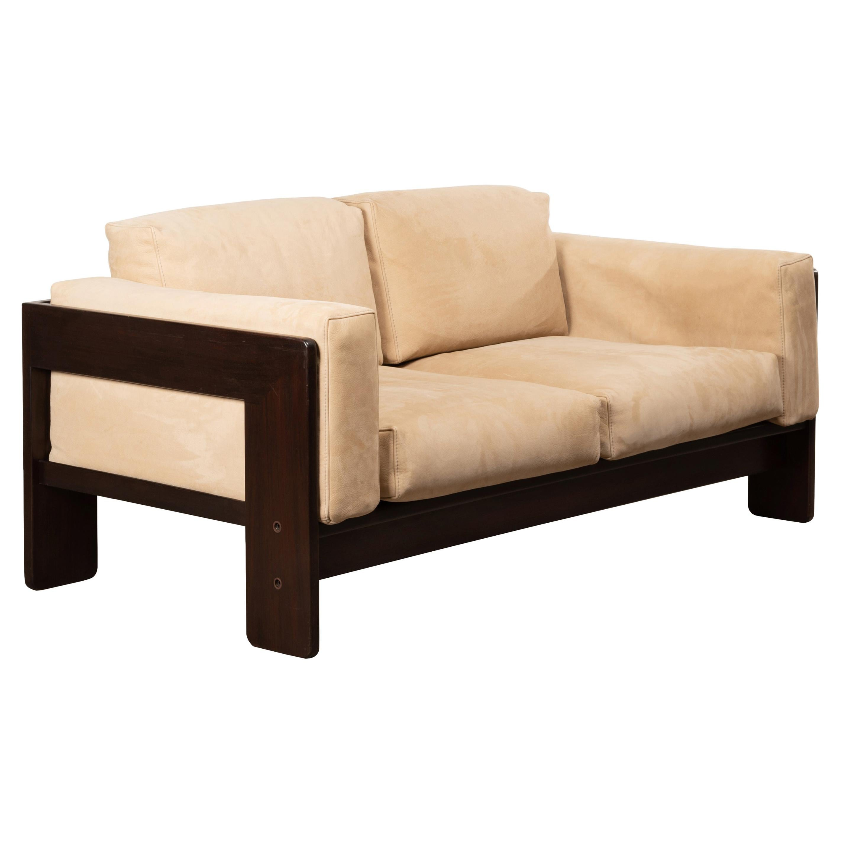Tobia Scarpa Bastiano 2-Seater Sofa in Walnut and Beige Suede Leather for Knoll