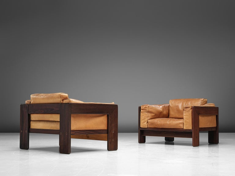 Tobia Scarpa for Knoll, pair of 'Bastiano' club chairs, leather and rosewood, Italy, design 1960, manufactured in 1970s.