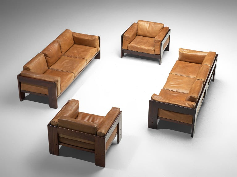 Mid-Century Modern Tobia Scarpa 'Bastiano' Living Room Set in Rosewood and Cognac Leather For Sale