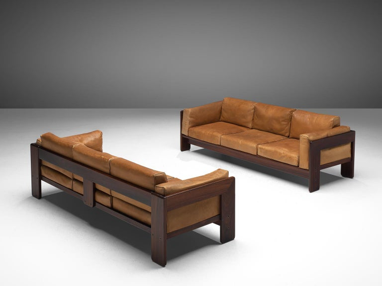 Italian Tobia Scarpa 'Bastiano' Living Room Set in Rosewood and Cognac Leather For Sale