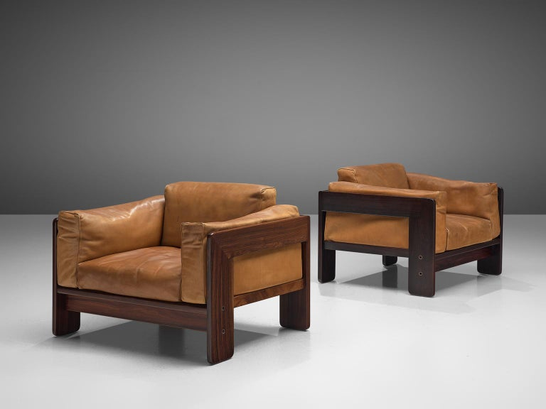 Tobia Scarpa 'Bastiano' Living Room Set in Rosewood and Cognac Leather In Good Condition For Sale In Waalwijk, NL