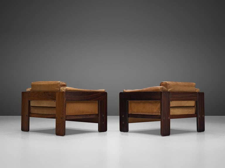 Late 20th Century Tobia Scarpa 'Bastiano' Living Room Set in Rosewood and Cognac Leather For Sale