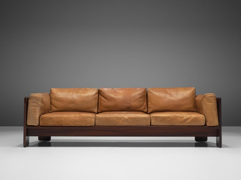 Tobia Scarpa 'Bastiano' Living Room Set in Rosewood and Cognac Leather For Sale 1