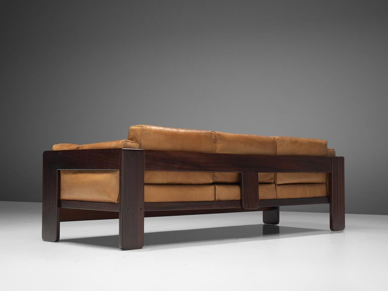 Tobia Scarpa 'Bastiano' Living Room Set in Rosewood and Cognac Leather For Sale 2