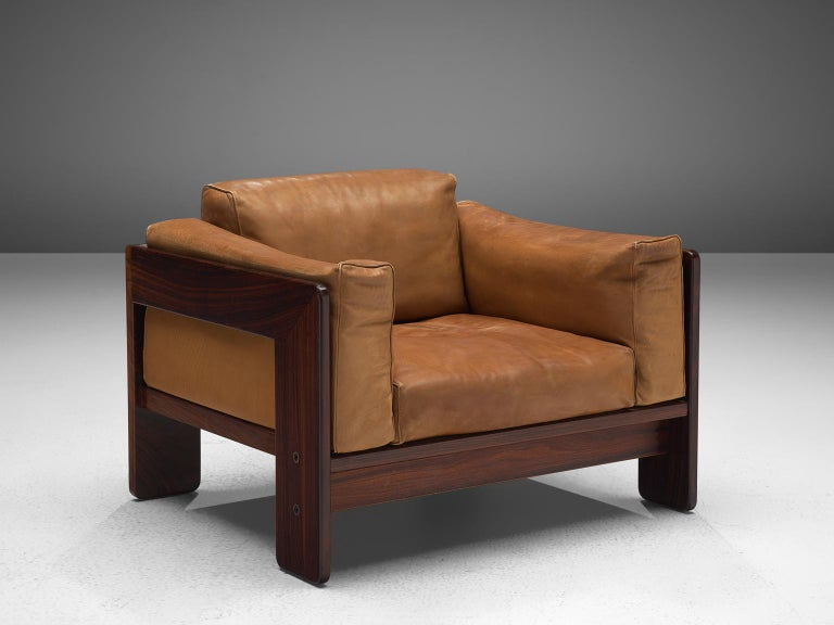 Tobia Scarpa 'Bastiano' Living Room Set in Rosewood and Cognac Leather For Sale 3