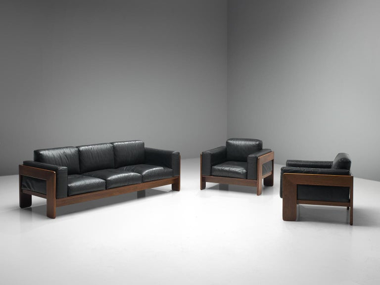 Tobia Scarpa \'Bastiano\' Living Room Set in Walnut and Black Leather