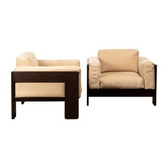 Tobia Scarpa Bastiano Lounge Chairs in Walnut and Beige Suede Leather for Knoll