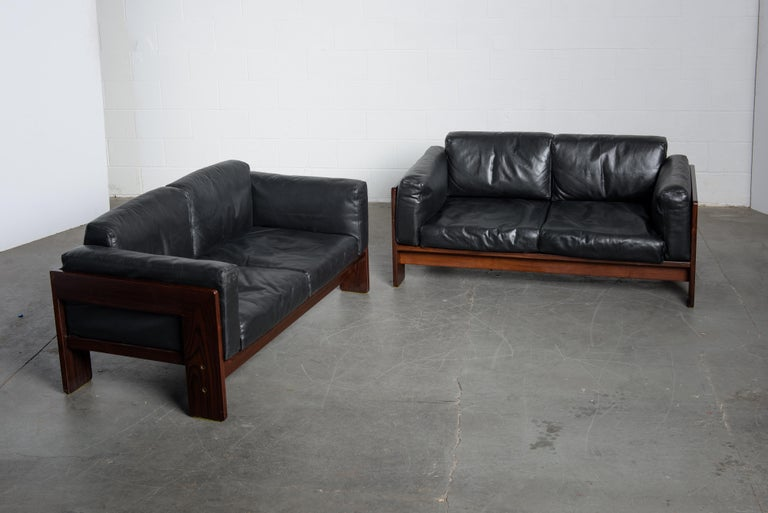 Tobia Scarpa 'Bastiano' Rosewood Loveseats for Gavina, Italy 1960s, Signed For Sale 5