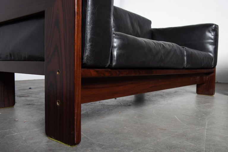 Tobia Scarpa 'Bastiano' Rosewood Loveseats for Gavina, Italy 1960s, Signed For Sale 10