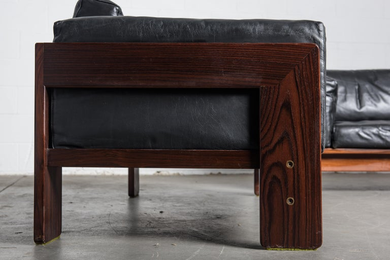 Tobia Scarpa 'Bastiano' Rosewood Loveseats for Gavina, Italy 1960s, Signed For Sale 11