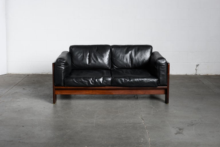 Mid-Century Modern Tobia Scarpa 'Bastiano' Rosewood Loveseats for Gavina, Italy 1960s, Signed For Sale