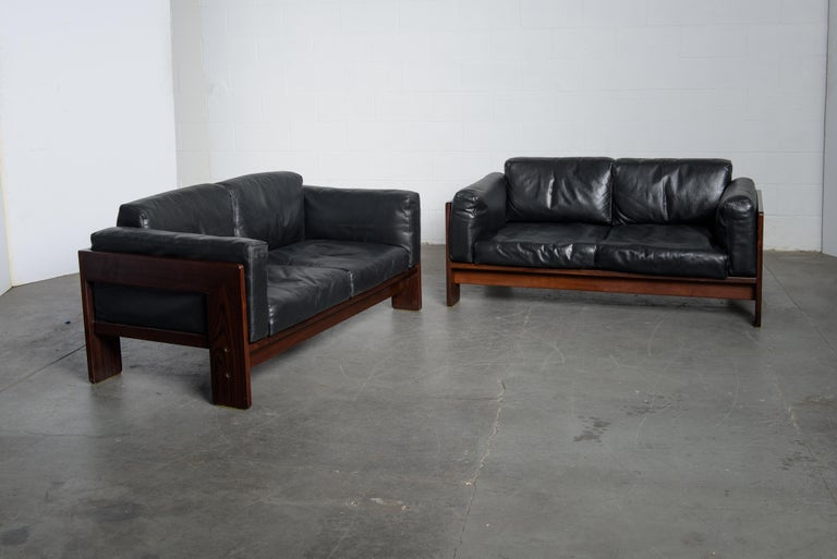Tobia Scarpa 'Bastiano' Rosewood Loveseats for Gavina, Italy 1960s, Signed For Sale 2