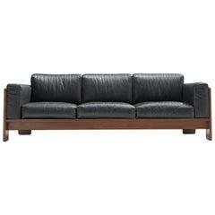 Tobia Scarpa 'Bastiano' Sofa in Walnut and Black Leather