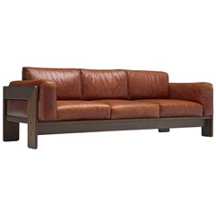 Tobia Scarpa 'Bastiano' Sofa in Walnut and Cognac Leather