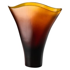 Tobia Scarpa Battuti Vase in Amber Murano Glass